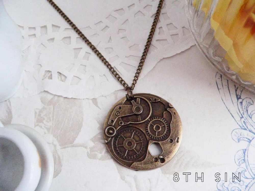 antique pendant bronze asp gear ekm p necklace